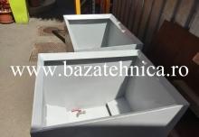 Container pentru span, pulberi metalice 600x800x h700 mm, tabla 3 mm, cu descarcare gravitationala